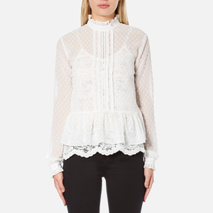 Perseverance Women's Victoriana Dobby Chiffon Blouse With Lace Cami Lining - Off White