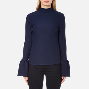 Perseverance Women's Long Sleeve Crepe T-Blouse With Frill Cuff - Navy