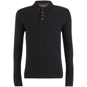 Brave Soul Men's Lincoln Long Sleeve Polo Shirt - Black