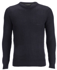 Kensington Eastside Men's Auldhome Textured Crew Neck Jumper - Dark Navy