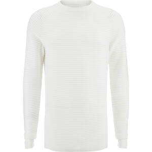 Jack & Jones Men's Core Wind Ribbed Jumper - Blanc De Blanc