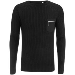 Brave Soul Men's Vulcan Rib Patch and Pocket Jumper - Black