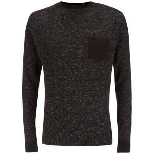 Brave Soul Men's Ween Interest Patch and Pocket Sweatshirt - Black