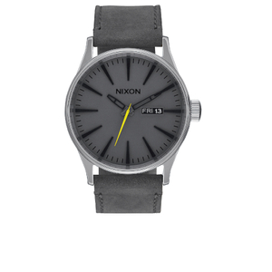 Nixon The Sentry Leather Watch - Charcoal
