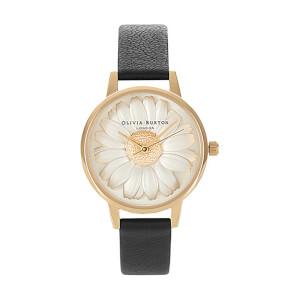 Olivia Burton Women's Daisy 3D Flower Watch - Black/Gold