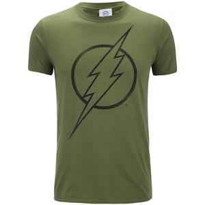 DC Comics Mens The Flash Line Logo T-Shirt - Military Green