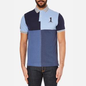 Hackett London Men's Marl Numbered Quad Polo Shirt - Blue/Multi