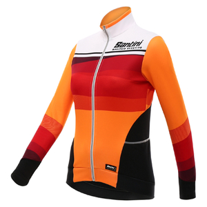 Santini Women's Coral Thermal Long Sleeve Jersey - Orange