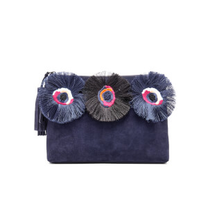 Loeffler Randall Women's Floral Embroidered Tassel Pouch Suede Clutch Bag - Eclipse Multi