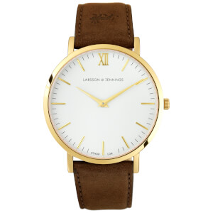 Larsson & Jennings Lugano 40mm Leather Watch - Gold/White/Brown