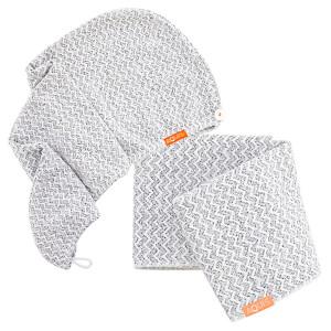Aquis Lisse Luxe Hair Turban and Hair Towel - Chevron (Worth £60.00)