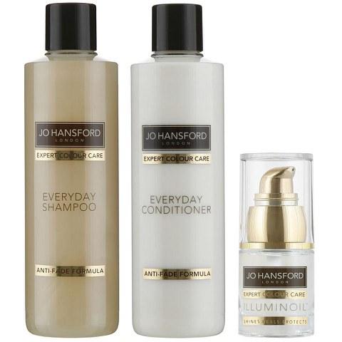 Champú, acondicionador de uso diario (250ml) y aceite Illuminoil mini (15ml) Jo Hansford Expert Colour Care