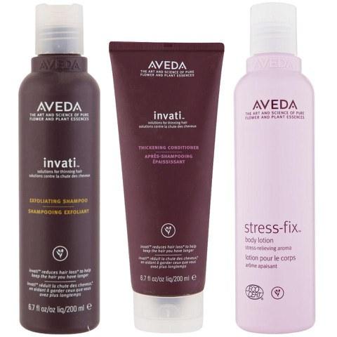 Aveda Invati Shampoo and Conditioner 200ml with Stress Fix Body Lotion