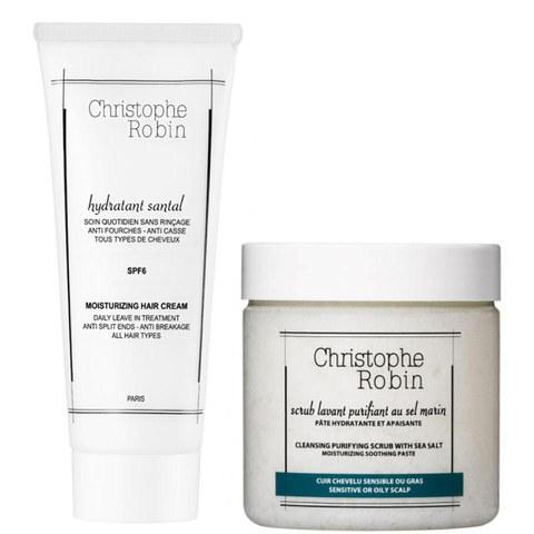 Exfoliante purificante con sal marina Christophe Robin (250ml) y crema hidratante capilar Christophe Robin (100ml)