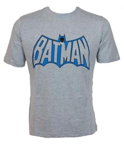 DC Comics Men's Batman Head and Logo T-Shirt - Grey