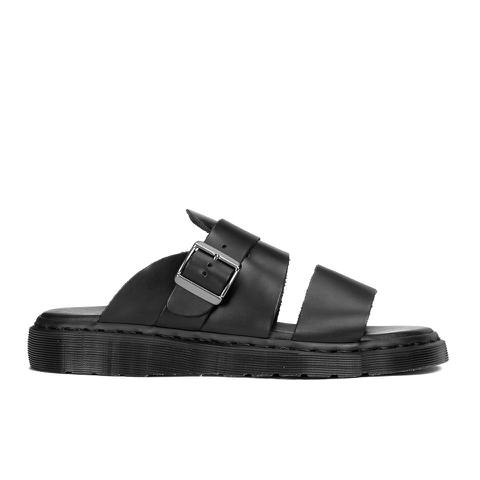 Dr. Martens Men's Shore Brelade Buckle Leather Slide Sandals - Black Brando