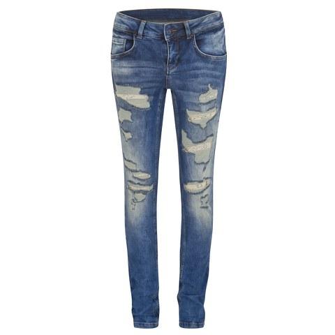 Vero Moda Women's Gambler Ripped Jeans - Medium Blue