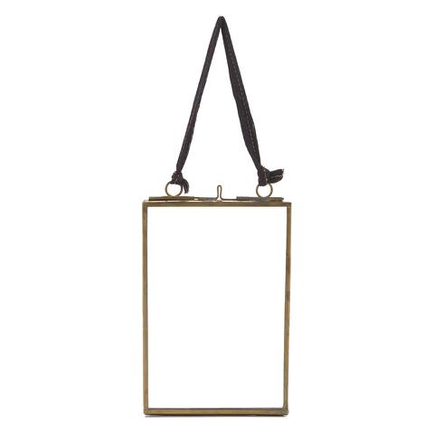 Nkuku Kiko Antique Brass Glass Frame - Portrait 4x6 Inches