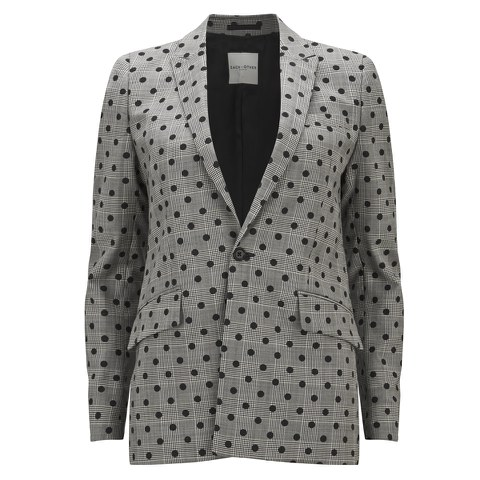 Each X Other Women's Prince of Wales with Polka Dots Print Blazer - Black/White