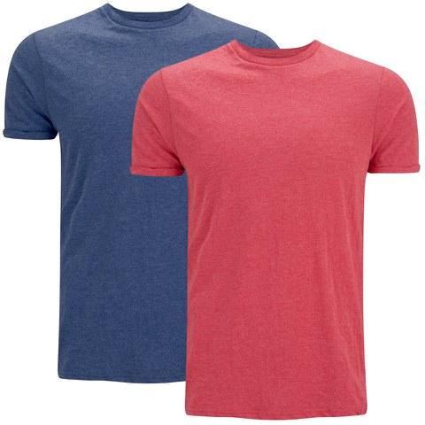 Brave Soul Men's Vardan 2 Pack T-Shirt - Blue/Red