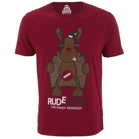 Xplicit Men's Randy Reindeer Christmas T-Shirt - Blood Red