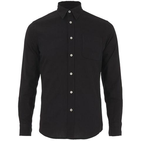 Knutsford x Tripl Stitched Men's Long Sleeve Woven Pique Shirt - Black