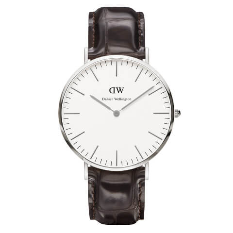 Daniel Wellington Classic York 40mm Silver Watch - Croc Brown