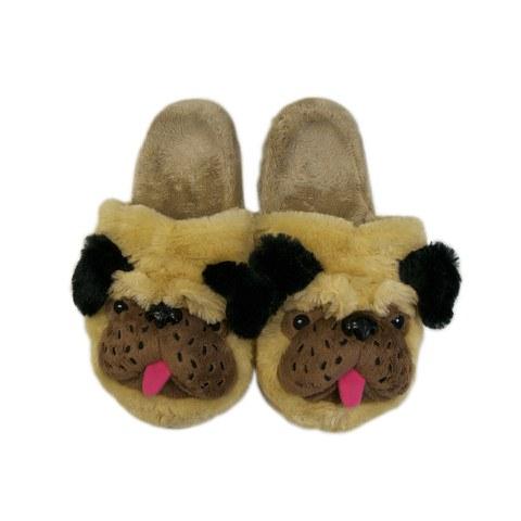 Women's Pug Slippers - Brown/Black