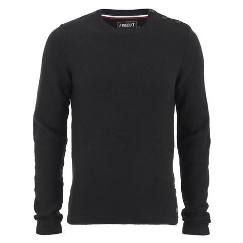 Produkt Men's HNN Buttoned Crew Neck Jumper - Black