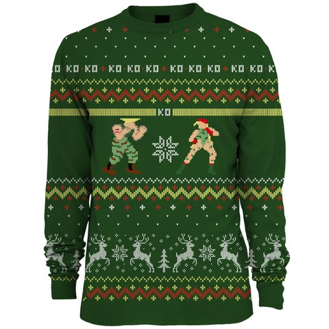 Capcom Street Fighter Guile Vs. Cammy Knitted Christmas Jumper - Green