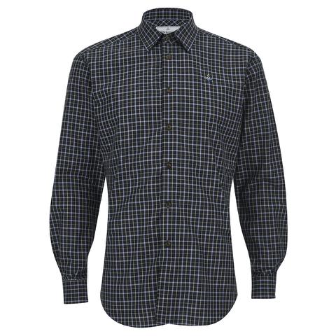 Vivienne Westwood MAN Men's Biscuit Shirting Classic Cut Away Shirt - Blue