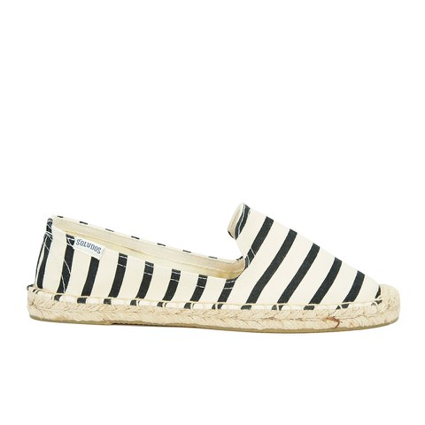Soludos Women's Classic Stripe Espadrille Smoking Slippers - Black/Natural