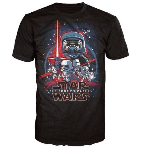 Star Wars The Force Awakens Poster Pop! T-Shirt - Black