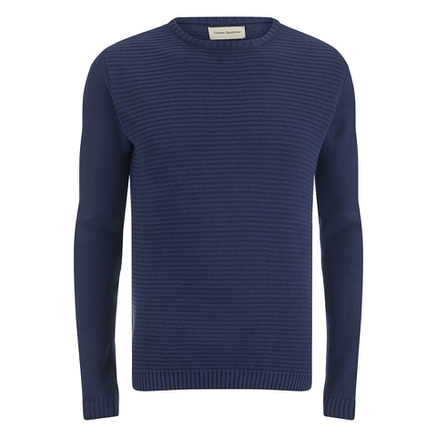 Oliver Spencer Men's Ripple Stitch Crew Neck Jumper - Indigo