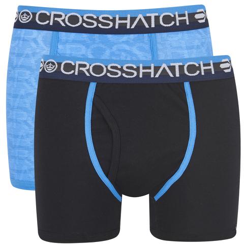 Crosshatch Men's Lightspeed 2-Pack Boxers - Neon Blue/Black