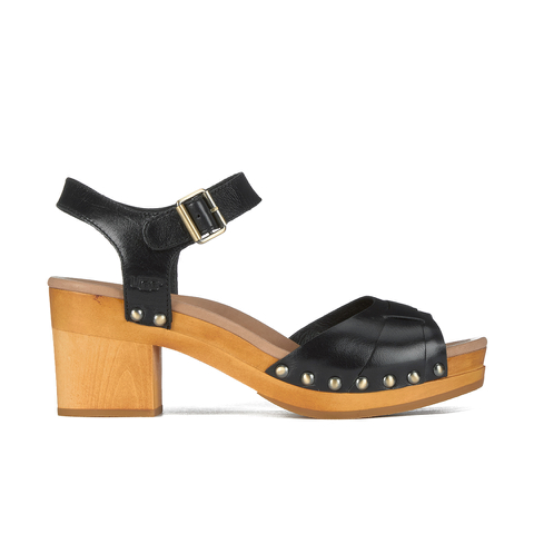 UGG Women's Janie Leather Heeled Sandals - Black