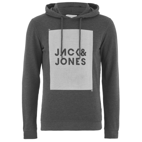 Jack & Jones Men's Core Take Hoody - Dark Grey Melange