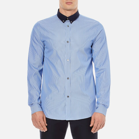 A.P.C. Men's Steven Contrast Collar Long Sleeved Shirt - Bleu
