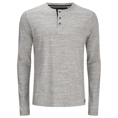 Brave Soul Men's Jeffrey Button Long Sleeved Top - Light Grey