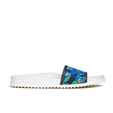 Jil Sander Navy Women's Graphic Flowers Slide Sandals - Blue/Green