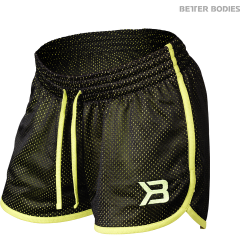 Better Bodies Women's Race Mesh Shorts - Black/Lime
