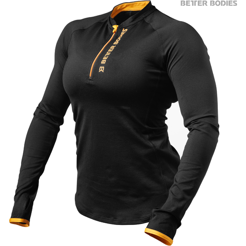 Better Bodies Women's Zipped Long Sleeve Top - Black/Orange
