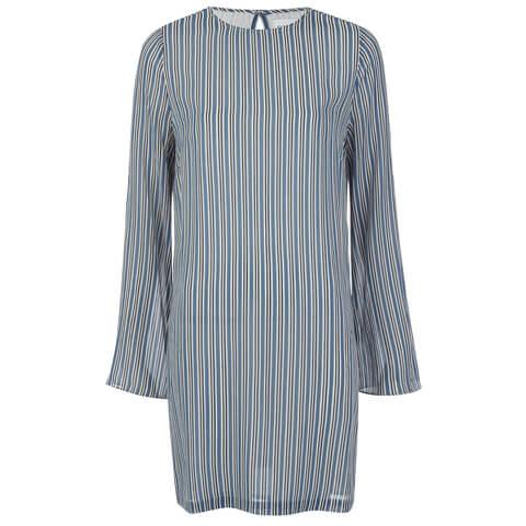 Ganni Women's Allen Georgette Long Sleeve Dress - Verona Stripes