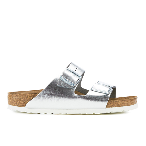Birkenstock Women's Arizona Slim Fit Double Strap Sandals - Metallic Silver