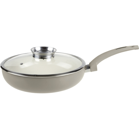 Tower IDT80028 Saute Pan with Infuser Glass Lid - Taupe - 28cm