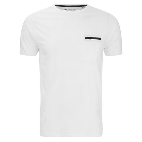 Brave Soul Men's Faustian Zip Pocket T-Shirt - White