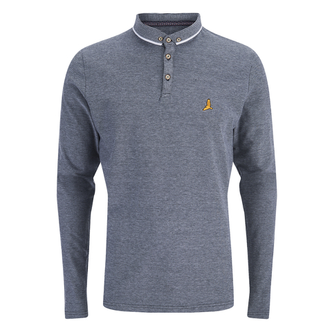 Brave Soul Men's Stage Long Sleeve Polo Shirt - Navy/White