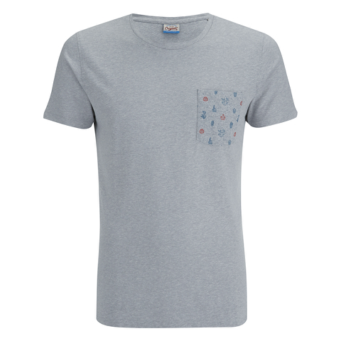 Jack & Jones Men's Originals Bobby Pocket Print T-Shirt - Light Grey Marl