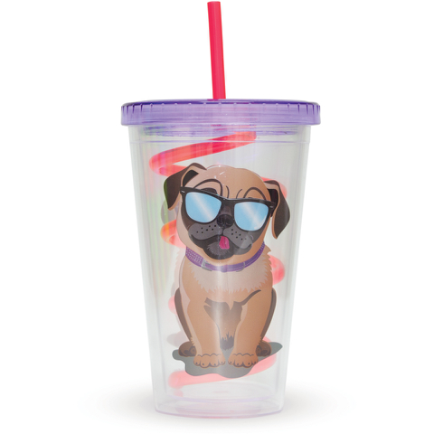 Pug Straw Cup - Multi (16oz)