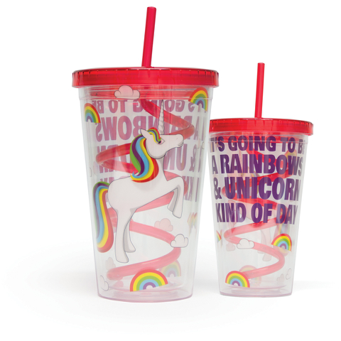 Unicorn Straw Cup - Multi (16oz)